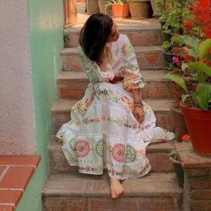 NWT Zara White & multi-colored Embroidered Dress